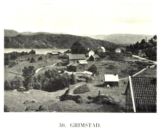 Grimstad gård ca. 1930-tallet. (Fra boken Fana II, av Hermod Hjellestad)