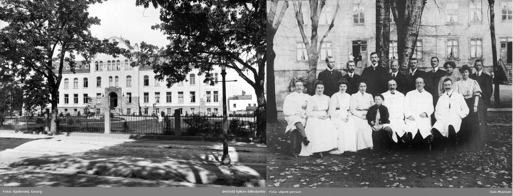 Fra venstre: E. C. Dahls stiftelse til Trondheim, som inspirerte meg til å skrive fra et hospital for barn og kvinner. Fotografiet til høyre er hentet fra fødselsstiftelsen i Kristiania. Personene som er avbildet er personalet ved stiftelsen (1906).