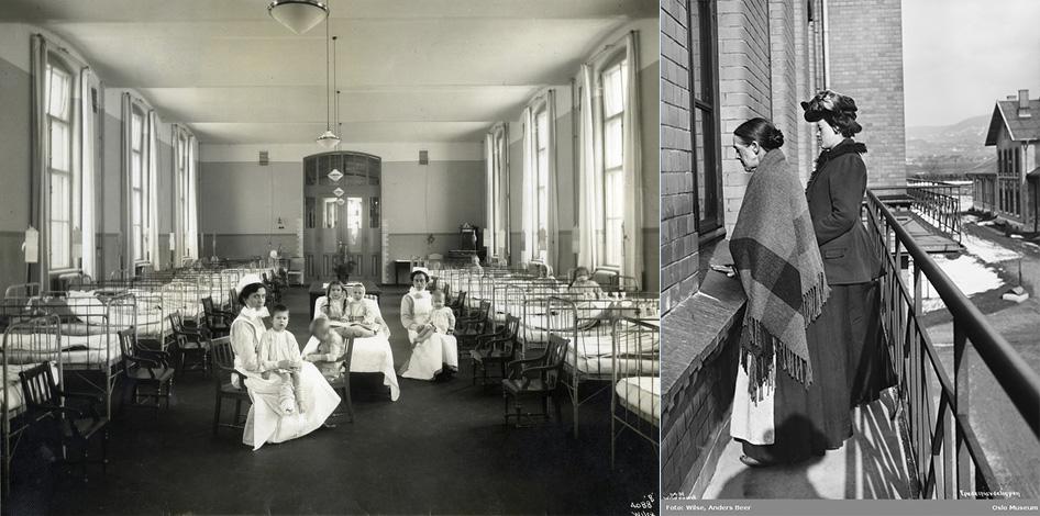 Fra venstre: Barnepasienter og sykepleiersker på barneavdelingen på Ullevål sykehus. Bildet er brukt i kommuneberetningen for årene 1887- 1911. (Foto: A.B. Wilse/ Oslo byarkiv.) Fotografiet til høyre er tatt utenfor epidemiavdelingen på Ullevål sykehus, 1905. (Foto: A.B. Wilse, eier Oslo Museum.)