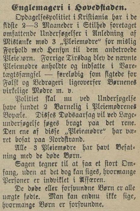 «Englemageri i Hovedstaden», Flekkefjordposten, 11.12.1900, Nasjonalbiblioteket