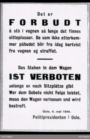 Nordmenn nektet å sitte ved siden av tyske soldater på trikken. Det fikk konsekvenser. Foto: Ukjent / Oslo byarkiv