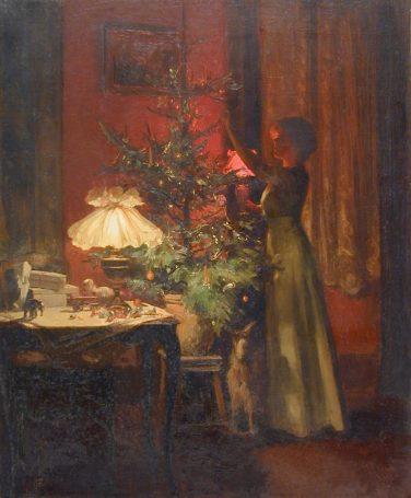 Ung kvinne dekorer juletre. Marcel Rieder (1898), Wikipedia.